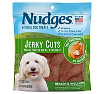 Nudges Dog Treats Jerky Cuts Natural Ingredients Real Chicken Pouch - 10 Oz