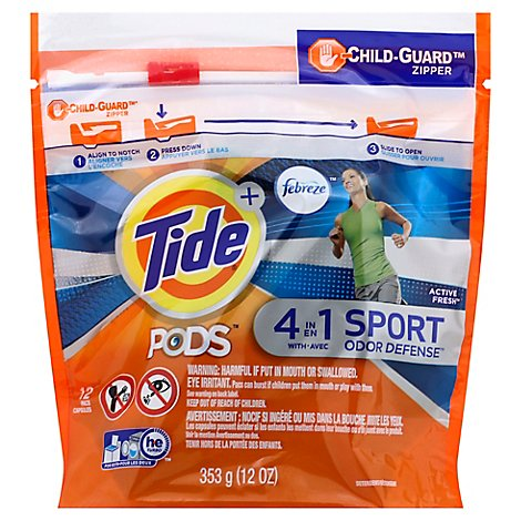 Tide Plus PODS Detergent Pacs 4In1 Febreze Odor Defense Active Fresh - 12 Count