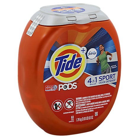 Tide + PODS Detergent 4 in 1 Febreze Odor Defense Active Fresh Pouch - 61 Count