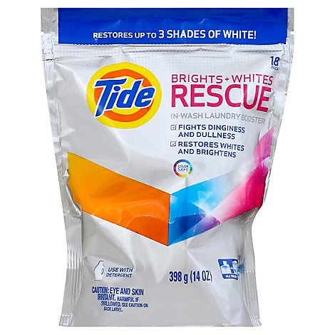 Tide Laundry Booster In Wash Brights Whites Rescue Pouch 18 Count - 14 Oz