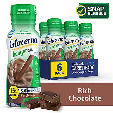 Glucerna Hunger Smart Diabetes Nutritional Shake Ready To Drink Rich Chocolate - 6-10 Fl. Oz.