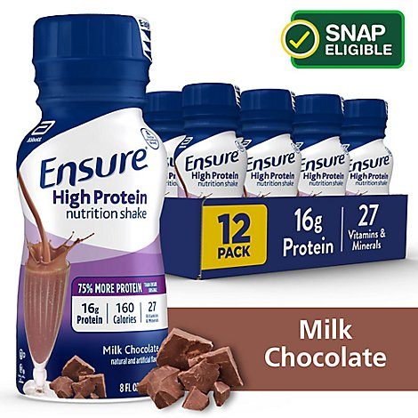 Ensure High Protein Nutrition Shake Ready To Drink Milk Chocolate - 12-8 Fl. Oz.