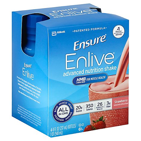 Ensure Enlive Advanced Nutrition Shake Ready-to-Drink - Strawberry - 4 - 8 fl oz