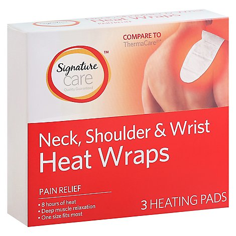 Signature Care Heat Wraps Pain Relief Neck Shoulder & Wrist - 3 Count