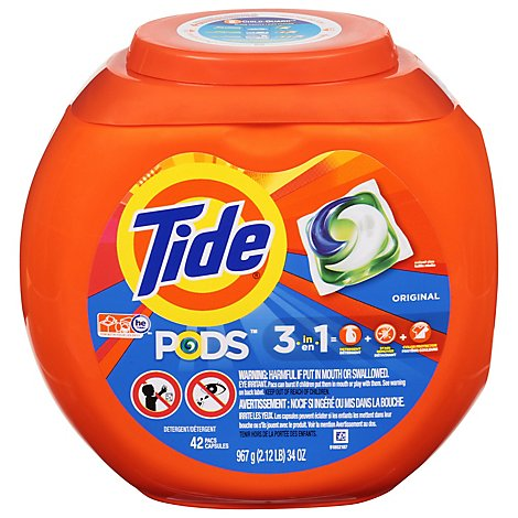 Tide PODS Detergent 3 in 1 Original Pouch - 42 Count