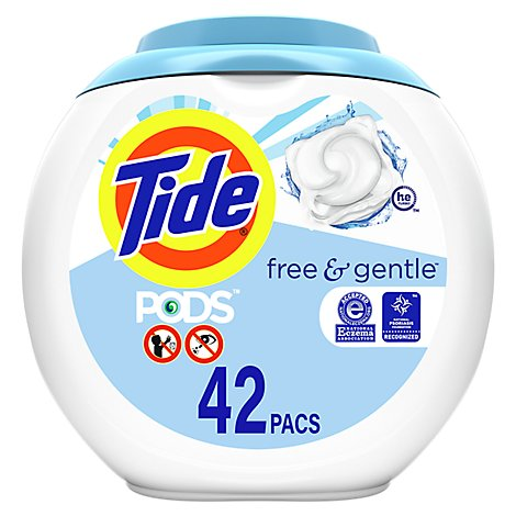 Tide PODS Detergent Pacs Free & Gentle - 42 Count