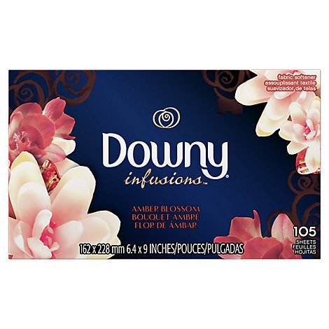 Downy Infusions Fabric Softener Dryer Sheets Bliss Sparkling Amber & Rose - 105 Count