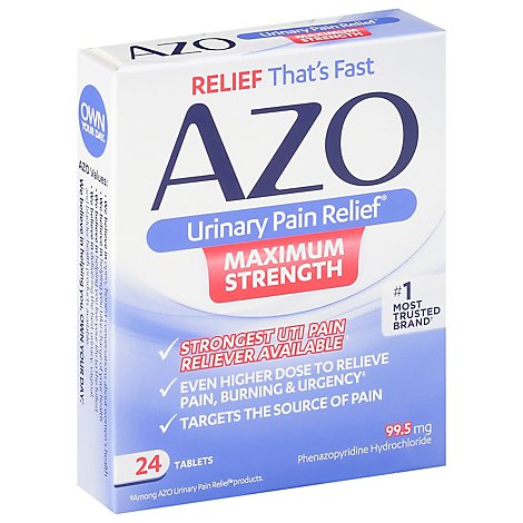 Azo Urinary Pain Relief Tablets 97.5mg Maximum Strength - 24 Count