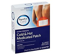 Signature Care Medicated Patch Cold & Hot Extra Strength Large - 5 Count