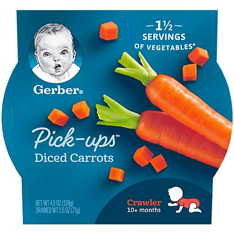 Gerber Pick-Ups Baby Food Crawler Diced Carrots - 4.5 Oz