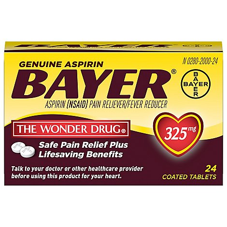 Bayer Tablets Aspirin Coated 325mg - 24 Count