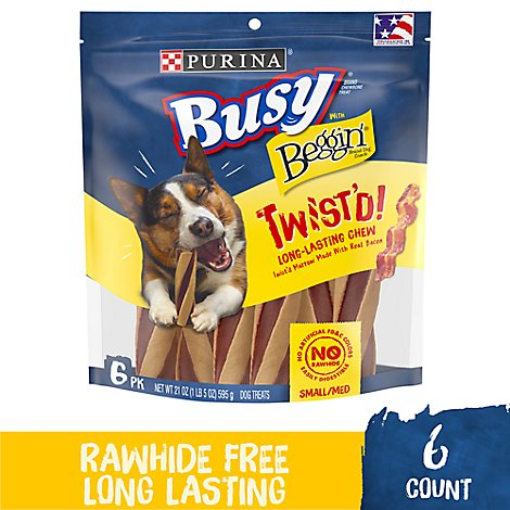 Busy Dog Treats With Beggin Small Medium Twistd Bag 6 Count - 21 Oz