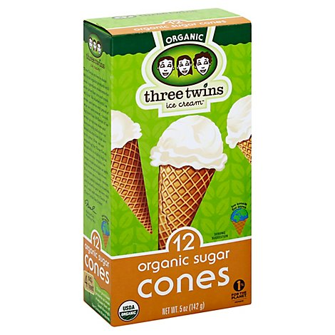 Three Twins Ice Cream Cones Organic Sugar 12 Count - 5 Oz