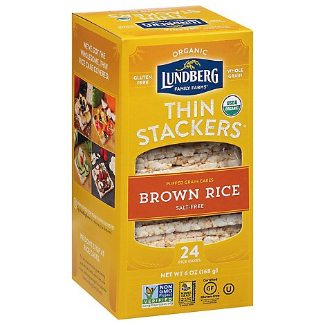 Lundberg Thin Stackers Cakes Rice Organic Brown Rice Salt-Free - 24 Count