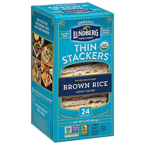 Lundberg Thin Stackers Cakes Rice Organic Brown Rice Lightly Salted - 24 Count