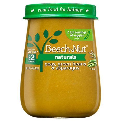 Beech Nut Naturals Baby Food Stage 2 Peas Green Beans And Asparagus - 4 Oz