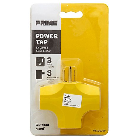 Prime Power Adaptor Triple Tap 90 Degree - Each