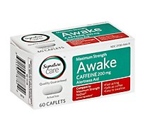 Signature Care Awake Caplet Caffeine 200mg Alertness Aid Maximum Strength - 60 Count