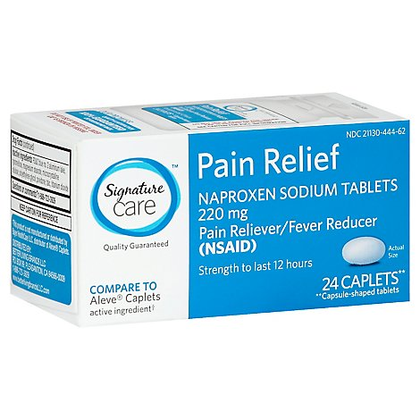 Signature Care Naproxen Sodium Pain Reliever Fever Reducer 220mg NSAID Caplet - 24 Count