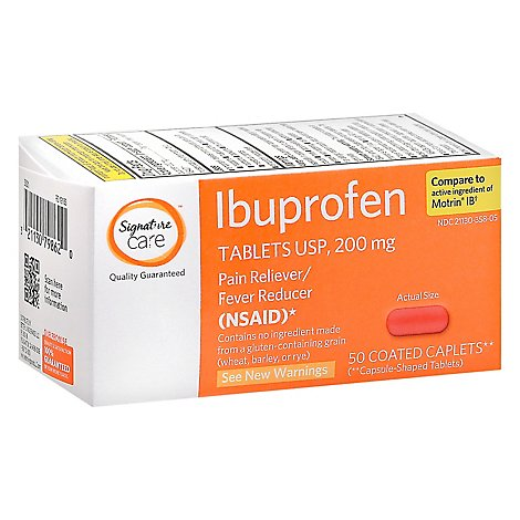 Signature Care Ibuprofen Pain Reliever Fever Reducer 200mg NSAID Caplet Orange - 50 Count