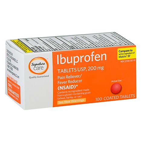 Signature Care Ibuprofen Pain Reliever Fever Reducer 200mg NSAID Tablet Orange - 100 Count