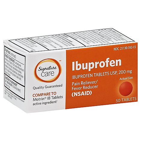 Signature Care Ibuprofen Pain Reliever Fever Reducer 200mg NSAID Tablet Orange - 50 Count