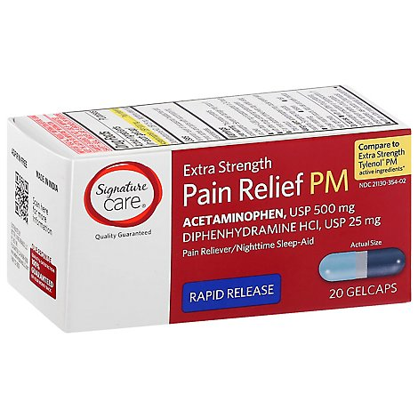 Signature Care Pain Relief PM Gelcap Aceteminophen 500mg Extra Strength Rapid Release - 20 Count