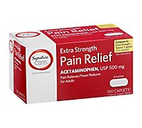 Signature Care Pain Relief Caplet Aceteminophen 500mg Pain Reliever Rapid Release - 150 Count