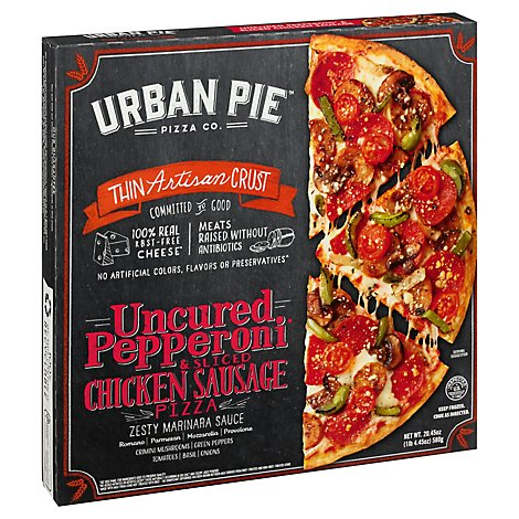 Urban Pie Pizza Co Pizza Box Mission District Pepperoni & Sliced Chicken Sausage Frozen - 20.45 Oz