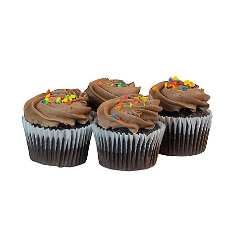 Bakery Cupcake Chocolate With Chocolate Buttercream 4 Count - Each