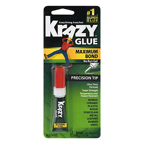 Krazy Glue Super Glue Maximum Bond Precision Tip No Run Gel - 0.14 Oz