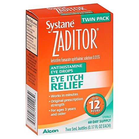 ZADITOR Eye Drops Antihistamine Original Prescription Strength Eye Itch Relief - 2-0.17 Fl. Oz.
