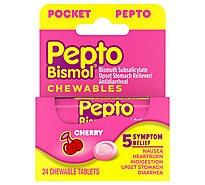 Pepto-Bismol Upset Stomach Reliever 5 Symptom Digestive Relief Chewables Cherry To-Go - 24 Count
