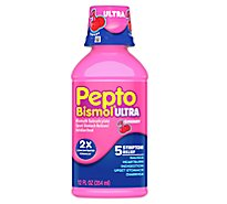 Pepto-Bismol Upset Stomach Reliever 5 Symptom Digestive Relief Liquid Cherry - 12 Fl. Oz.