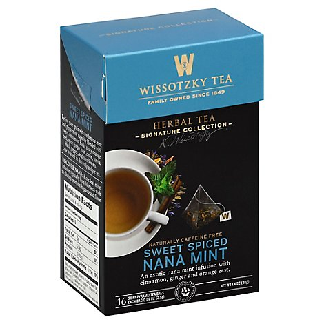 Wissotzky Tea Signature Collection Herbal Tea Sweet Spiced Nana Mint - 16 Count