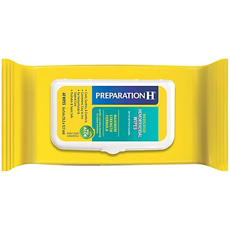 Preparation H Flushable Medicated Hemorrhoidal Wipes Pouch Maximum Strength Relief - 48 Count