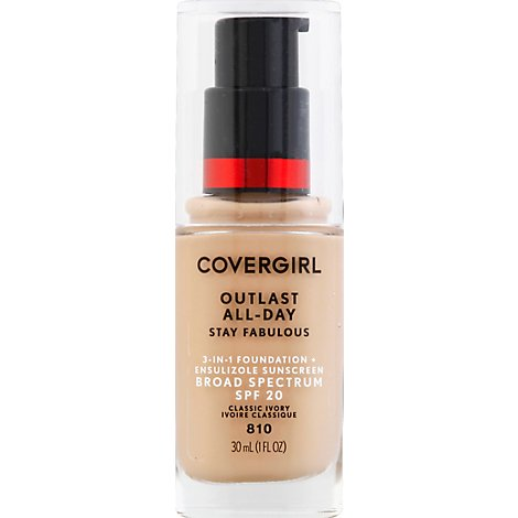 COVERGIRL Outlast Stay Fabulous Foundation + Sunscreen 3 in 1 SPF 20 Classic Ivory 810 - 1 Fl. Oz.
