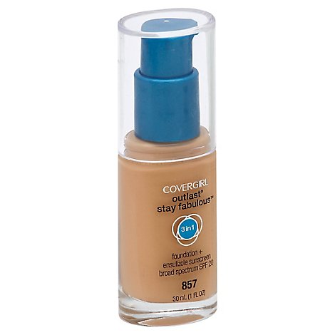 COVERGIRL Outlast Stay Fabulous Foundation + Sunscreen 3In1 SPF 20 Golden Tan 857 - 1 Fl. Oz.