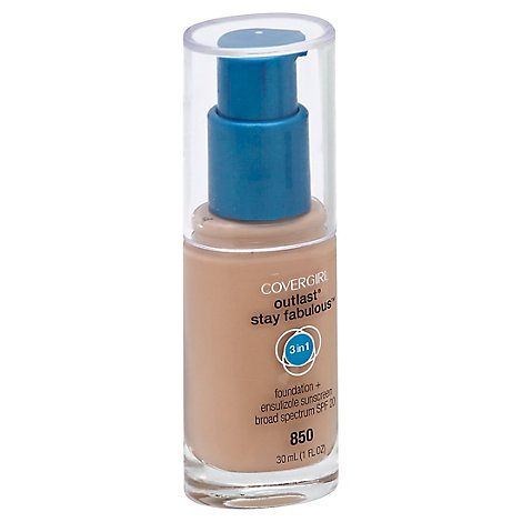 COVERGIRL Outlast Stay Fabulous Foundation + Sunscreen 3In1 SPF 20 Creamy Beige 850 - 1 Fl. Oz.