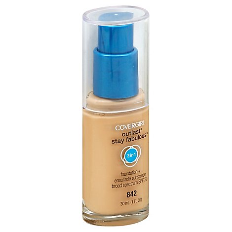 COVERGIRL Outlast Stay Fabulous Foundation + Sunscreen 3 in 1 SPF 20 Mediuml Beige 842 - 1 Fl. Oz.