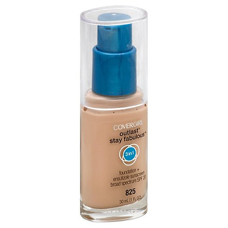 COVERGIRL Outlast Stay Fabulous Foundation + Sunscreen 3 in 1 SPF 20 Buff Beige 825 - 1 Fl. Oz.