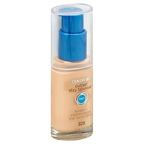 COVERGIRL Outlast Stay Fabulous Foundation + Sunscreen 3 IN 1 SPF20 Creamy Natural 825 - 1 Fl. Oz.