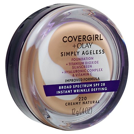 COVERGIRL + Olay Simply Ageless Foundation + Sunscreen SPF 22 Creamy Natural 220 - 0.4 Oz