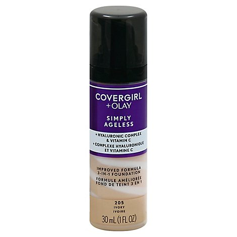 COVERGIRL + Olay Simply Ageless Liquid Foundation 3-in-1 Ivory 205 - 1 Fl. Oz.