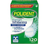 Polident Denture Cleanser Tablets Overnight Whitening Triplemint Freshness - 120 Count