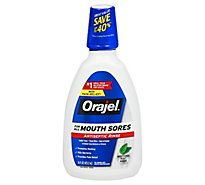 Orajel Antiseptic Rinse For All Mouth Sores Promotes Healing Mint - 16 Fl. Oz.