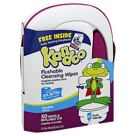 Kandoo Flushable Wipes Sensitive Unscented Refillable Tub With Free Storybook - 50 Count