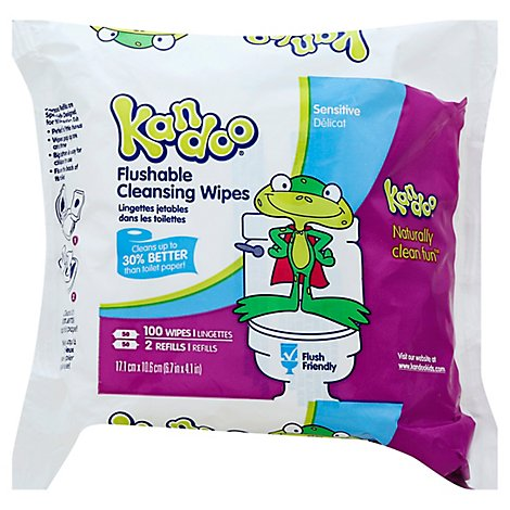 Kandoo Flushable Wipes Sensitive Unscented Naturally Clean Fun 2 Refills - 100 Count