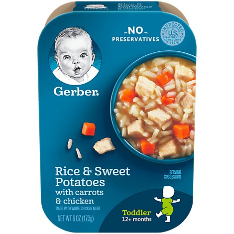 Gerber Baby Food Toddler Rice & Sweet Potatoes With Carrots & Chicken - 6 Oz