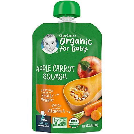 Gerber 2nd Fds Apl Carrot Squash Organic - 3.5 Oz